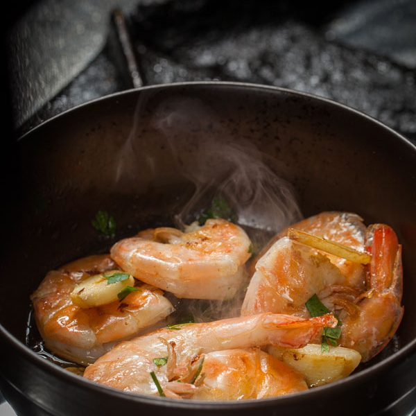 Shrimps in white wine
