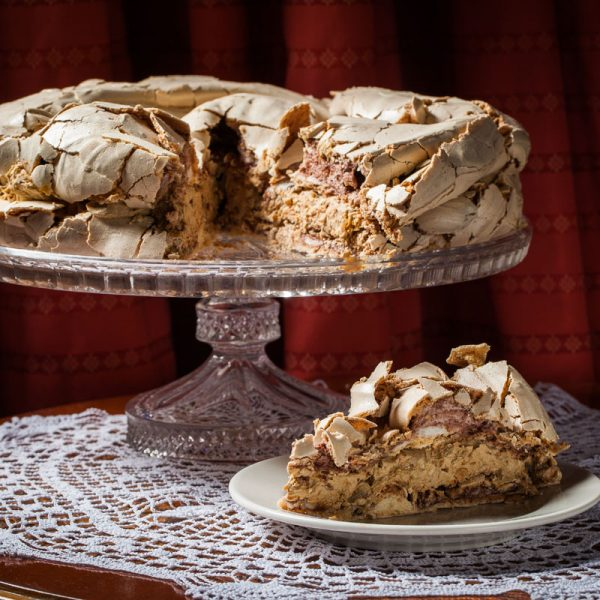 Fluffy meringue layer cake with coffee cream