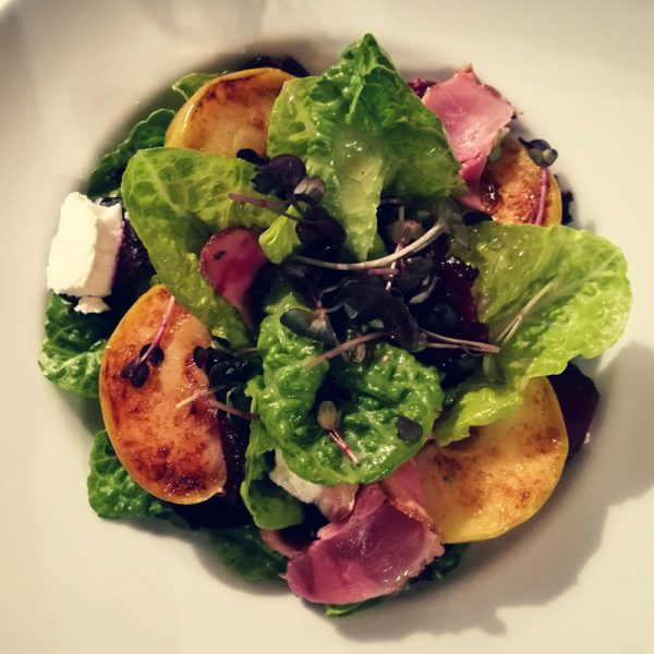 Salad with smoked goose breast