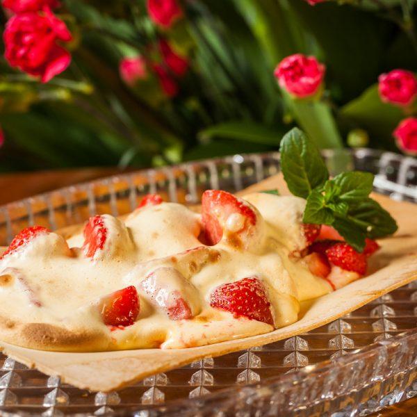 Strawberries in sugar yolks
